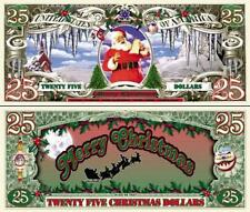 Santa 25 Merry Christmas Dollar Bill Collectable Fake Funny Money Novelty Note