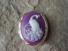 LOCKET - PEACOCK (WHITE ON PURPLE) CAMEO LOCKET- QUALITY- GIFTS