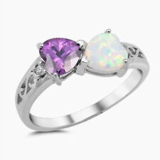 USA Seller Hearts Ring Sterling Silver 925 White Lab Opal & Amethyst CZ Size 9
