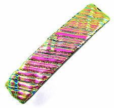 """Dichroic Hair Barrette 2.5"""" 65mm SMALL Hot Pink Magenta Fused Glass Ripple Wavy"""