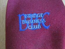 BBC Bridge Business Club Red Polyester Tie Made in Great Britain