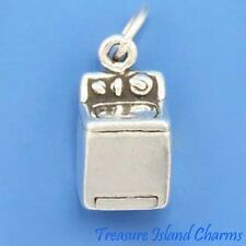 WASHER LAUNDRY WASHING MACHINE 3D .925 Sterling Silver Charm
