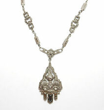 Antique 1950's Sterling Silver ART DECO STYLE MARCASITE PENDANT NECKLACE 18.7g