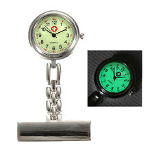 New Luminous Dial Nurse Doctor Brooch Clip Quartz Fob Pendant Pocket Watch