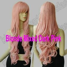 32 in. Free Shipping Long Hair Heat Resistant Spiral Curly Cosplay Wig Synthetic