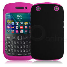 HOT PINK / BLACK DUAL HYBRID SILICONE HARD CASE COVER FOR BLACKBERRY 9320 CURVE