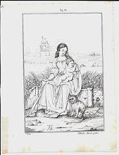1837ca MADONNA CON SCIMMIA litografia Magazzino Pittorico Albrecht Dürer