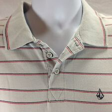 Men's Volcom 100% Cotton Grey Red Blue Striped Polo Shirt Large L