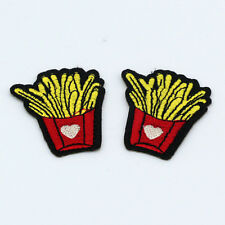 2pc Embroidered Craft iron on Patches Sewing backpack biker Love Fries badge NEW