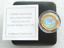 1999 Rugby Hologram Piedfort £2 Two Pound Silver Proof Coin Box Coa