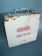 Vintage CONOCO Gas Oil Service Filling Station Metal First Aid Kit Box