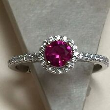 1ct Ruby White Sapphire 925 Solid Sterling Silver Solitaire Ring sz 7.25