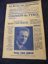 Partition Chanson du Tyrol Tirollied 1950 Emile Van Herck  Music Sheet