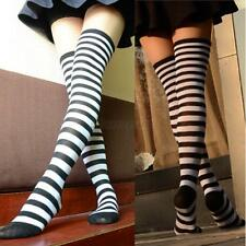 Sexy Womens Girls Thigh High Striped Over the Knee Cotton Long Socks Black+White
