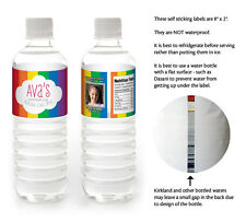 10 RAINBOW Birthday Party Personalized WATER BOTTLE LABELS