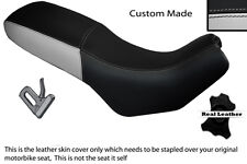 BLACK & LIGHT GREY CUSTOM FITS CAGIVA GRAN CANYON 900 DUAL LEATHER SEAT COVER