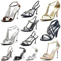 Womens Ladies Sparkly High Heel Party Prom Bridal Diamante Shoes Sandals Size UK