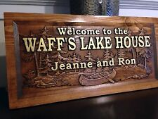"11"" x 23"" Wood Carved Personalized Lake Home Sign With First and Last Names"