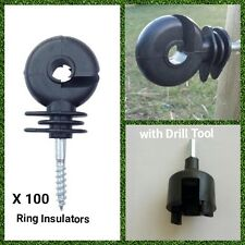 Electric Fence Ring Insulator Fencing Screw x 100 with Drill Tool