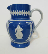1890s English Neoclassic Blue & White Dudson Brothers Hanley Earthenware Pitcher
