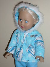 """Snow Queen Elsa Quilted Winter Coat for 18"""" Doll Clothes American Girl"""