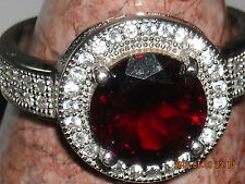sterling silver marked 925 cz garnet red stone clear stones size 6 a hair under