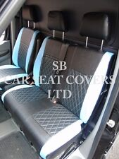 VW CRAFTER VAN (FLAT BED) SEAT COVERS - BENTLEY DIAMOND BLACK+BLUE LEATHERETTE