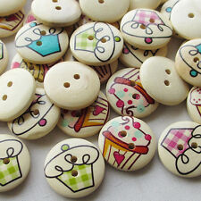 New 50pcs Ice Cream Wood Buttons 20mm Sewing Craft 2 Holes Wholesales