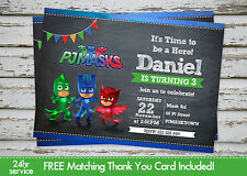 PJ Masks Birthday Party invitation printable with free matching Thank You card