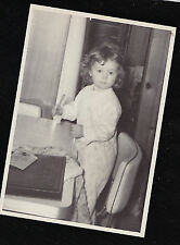 Vintage Antique Photograph Cute Little Girl Standing in Chair By Kitchen Table