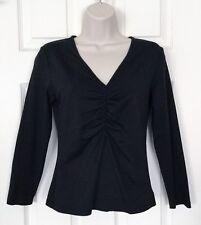 CLUB MONACO Top Black Stretchy Nylon 3/4-Sleeves Polo Shirt SZ Medium