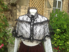 WHITBY STEAMPUNK GOTH VICTORIAN STYLE BLACK LACE SHOULDER CAPE Freesize