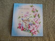 Vintage Birthday Card Quality Cards T-552 / Hollyhocks, Bluebirds, Pink Tree