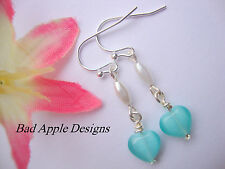 Love Heart Light Blue Cats Eye Glass Rice Acrylic Pearl Silver Dangle Earrings