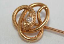 Antiguo Oro 18ct Victoriano Pendientes Diamante Serpiente pin de palo/Corbata Pin en Caja