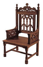 GOTHIC STYLE THRONE CHAIR~SOLID  MAPLE/WALNUT FINISH