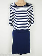 BNWT South Navy & White Striped Jersey Stretch Dress Size 22