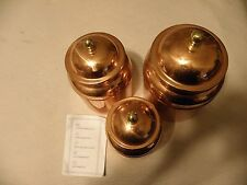 High quality set of 3 copper canisters, made in Portugal
