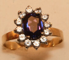 100% Genuine Vintage 9ct Gold Ring with A HUGE 1.52ct Sapphire Diamond Cluster
