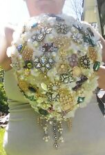 Brooch Wedding Bouquet Bridal Gold Crystal Pearl Broche Flower Cascade Purple