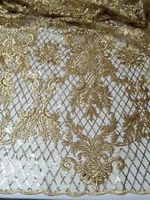 "GOLD METALLIC EMBROIDERY SEQUINS BEIDAL LACE FABRIC 50"" WiIDE 1 YARD"