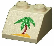 Missing Lego Brick 3039px40 White Slope Brick 45 2 x 2 with Palm Tree Pattern