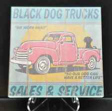 Black Dog Trucks Wood Painting Vintage Inspired Art Pick Up Truck Advertisement