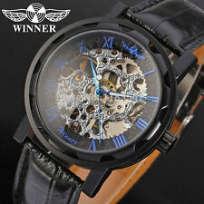 WINNER Skeleton Blue Roman Numerals Stainless Steel Leather Watch New