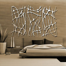 Abstract Stainless Steel Wall Sculpture Art Metal Decor Laser Cut Silver Large