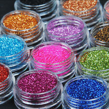 12 Colors Metal Fine Glitter Dust UV Powder Set Nail Art Tips Decor DIY Kit UK