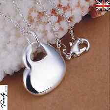 Women/Girls 925 Sterling Silver Filled Smooth Heart Shape Necklace Pendant 002