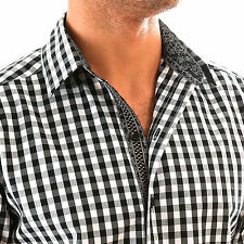 Lucky MAYBACH BLACK GINGHAM Slim Casual Shirt jared-lang-fit Untuckit Size S