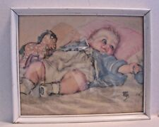 Maud Tousey Fangel Baby Boy with Pony Print Framed Vintage