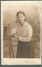 Manchester studio photo card, Goodman's,Strangeways, young woman, 1920 qb 910